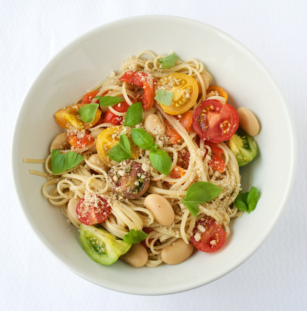pasta met boterbonen en bonte tomaten Groene Prinses